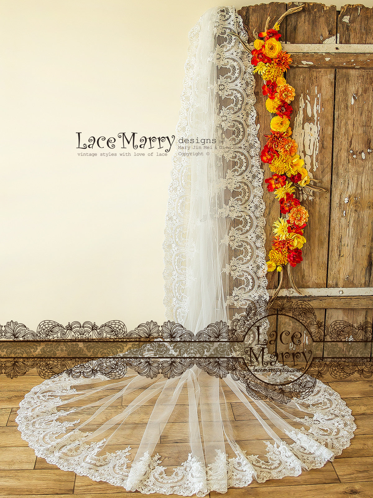 Single Tier Long Wedding Veil