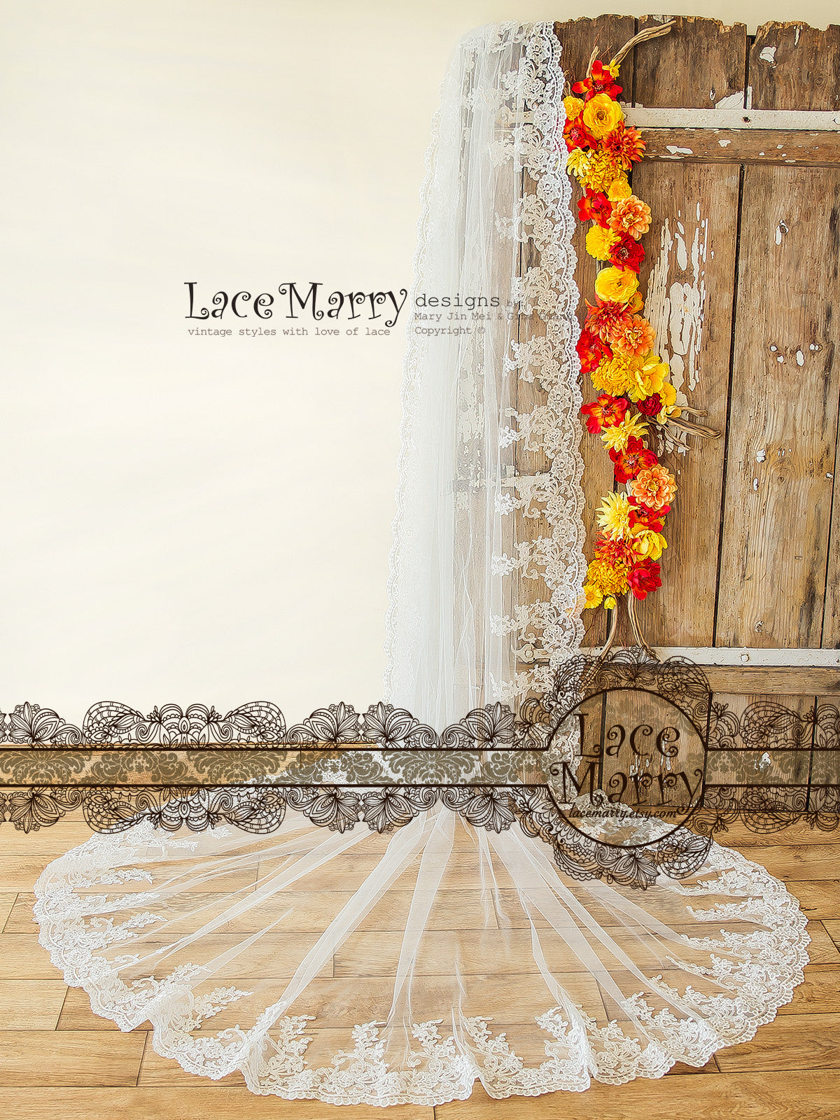 Long Lace Bridal Veil with Floral Ornaments