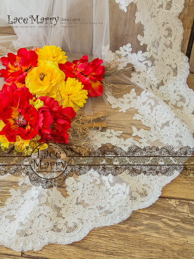 Corded Scalloped Lace Edge Bridal Veil