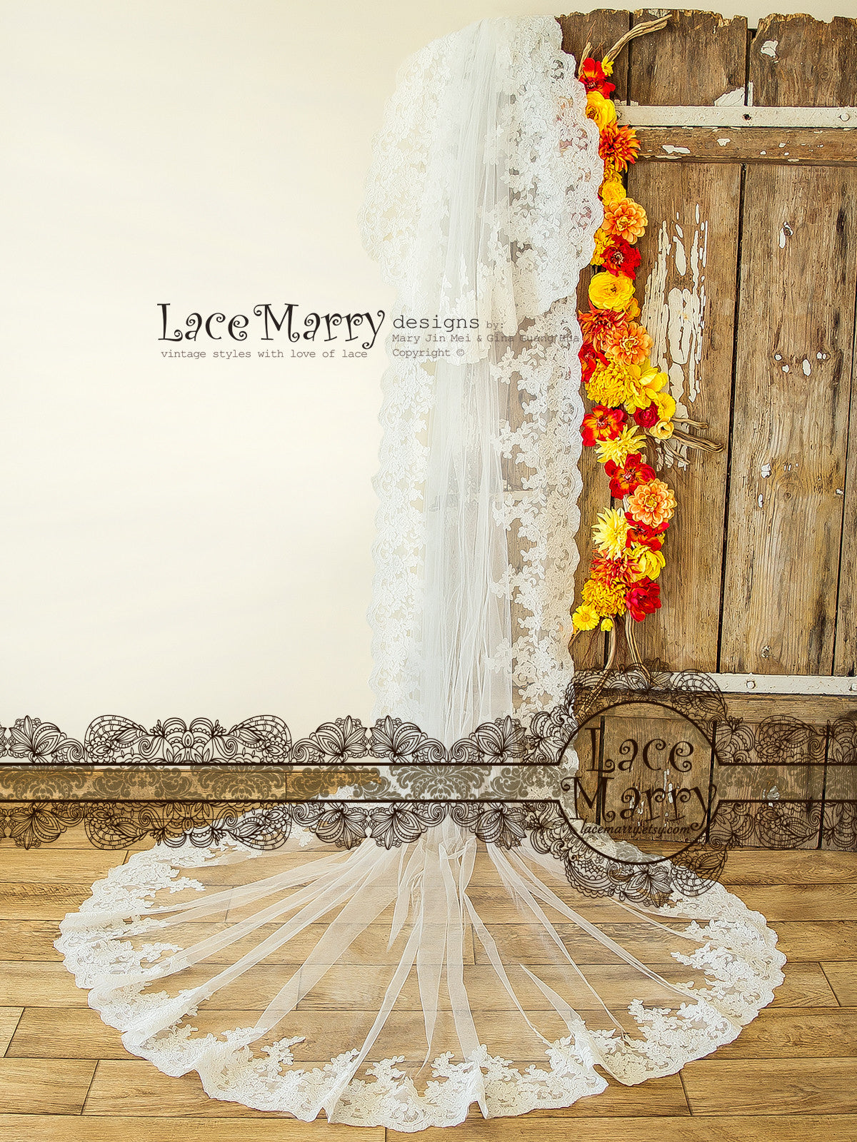 Romantic Lace Cathedral Veil, Single Tier Long Wedding Veil with ...