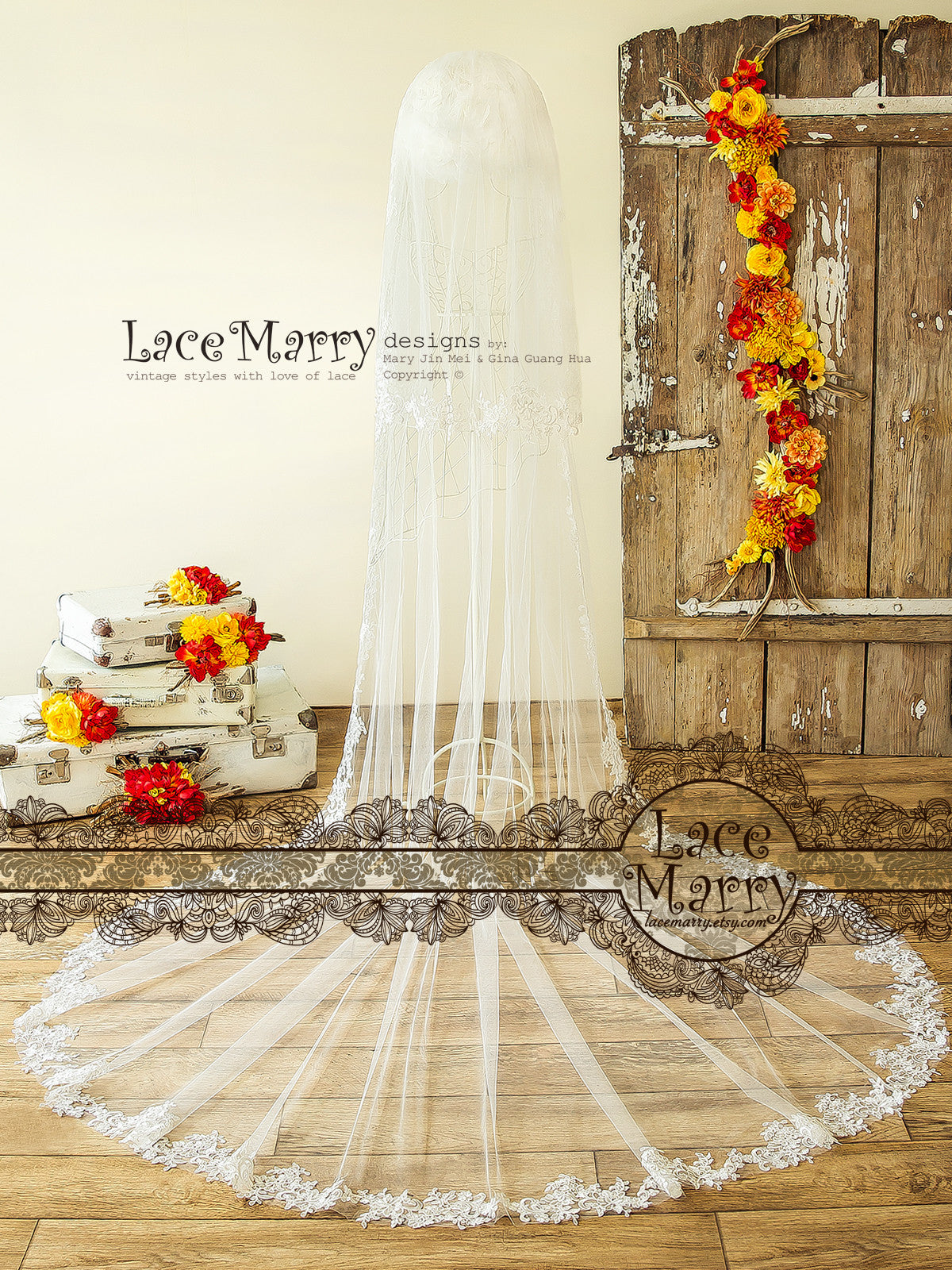 Elegant Lace Bridal Veil in Ivory Color