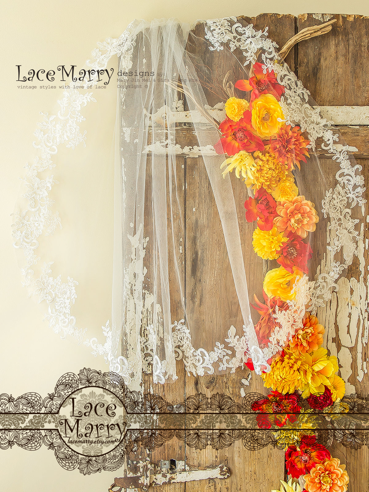 Short Bridal Veil from Lace