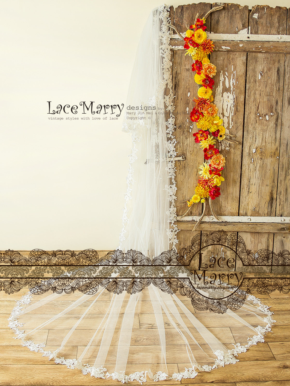 Venetian Lace Long Veil with Thick Lace Flower Appliques