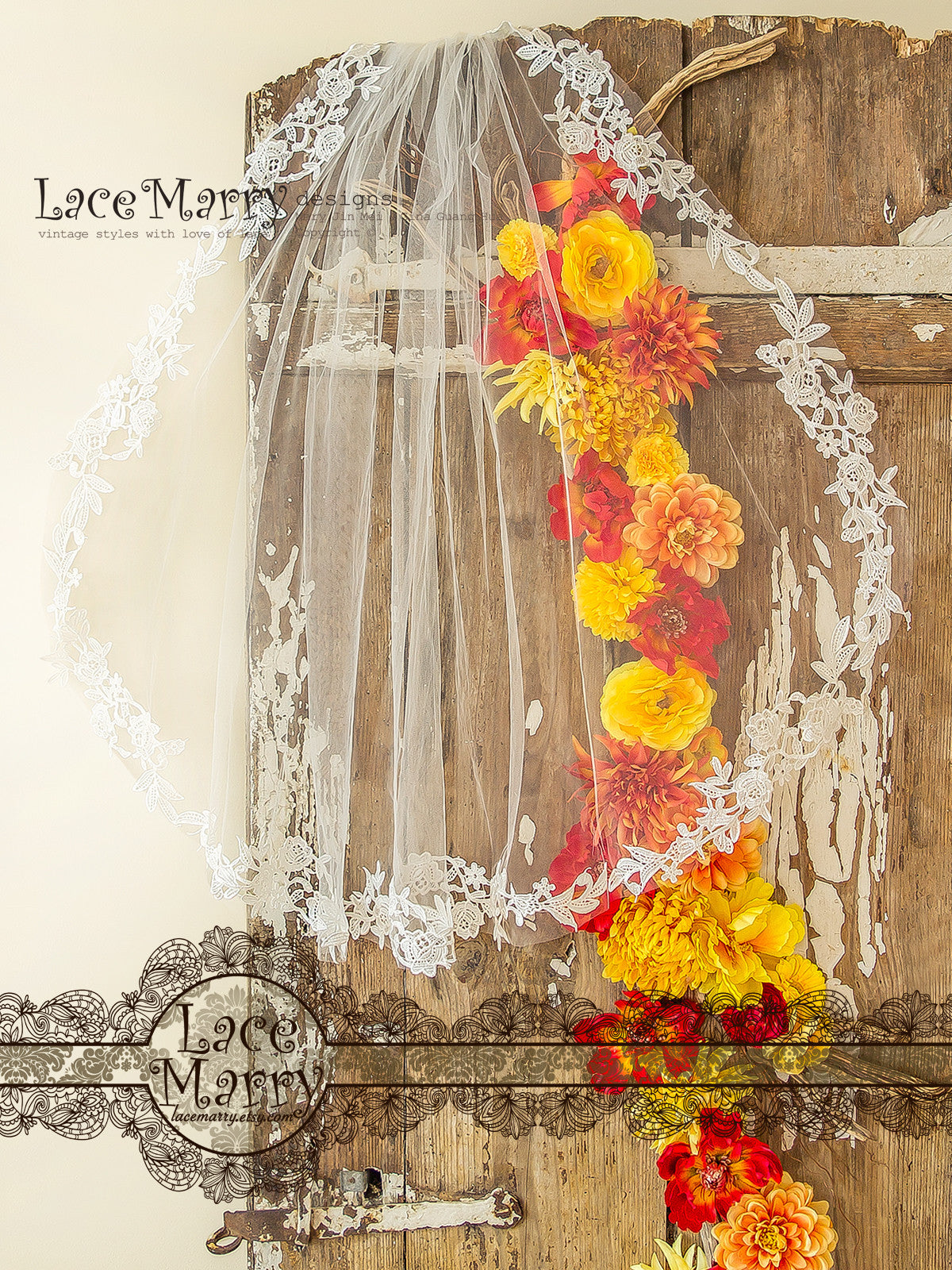 Fingertip Lace Applique Veil