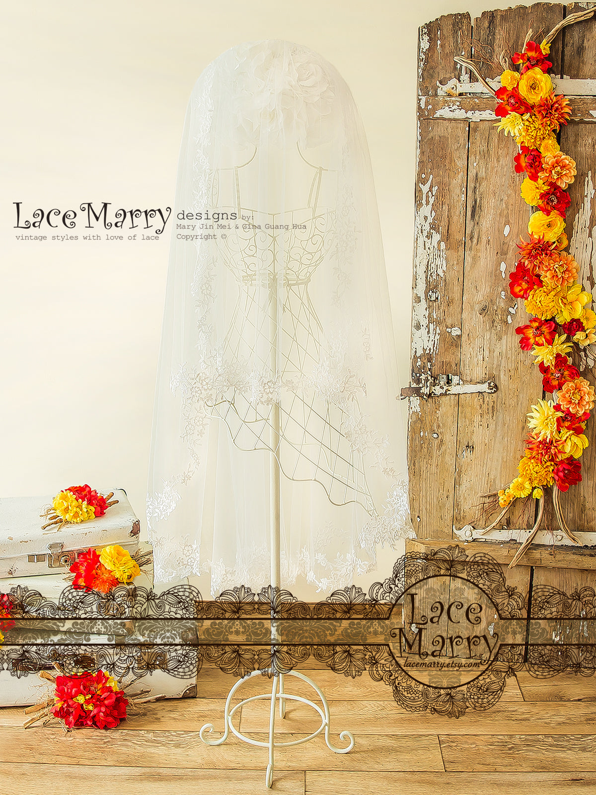 Wedding Veil with Blusher and Lace Appliques