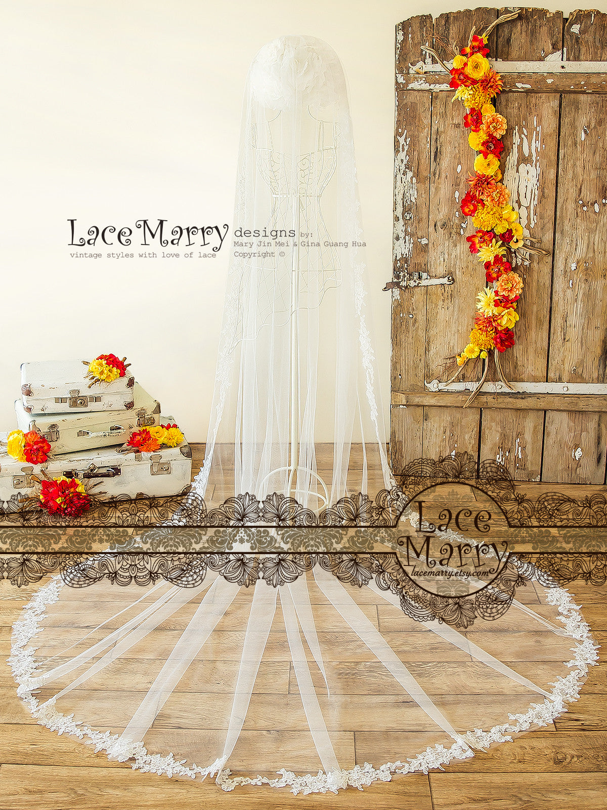 Single Tier Veil with Lace Edge