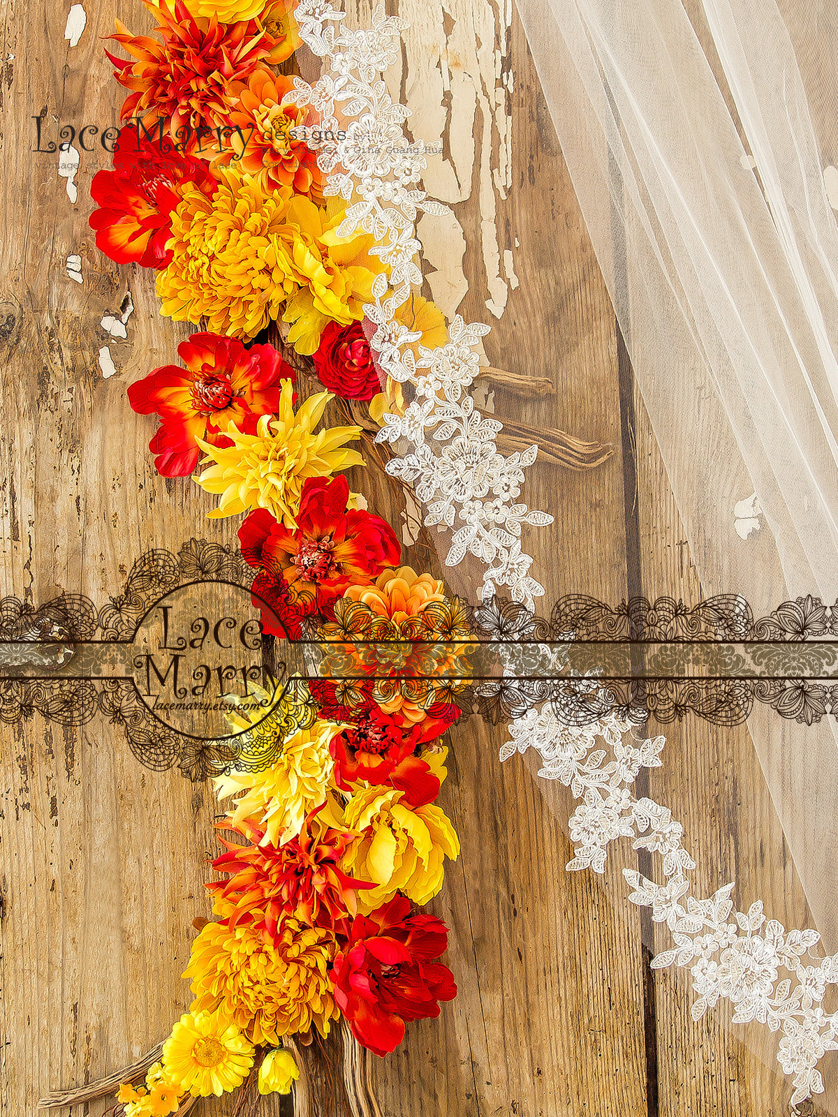 Silky Flower Applique Edge Bridal Veil