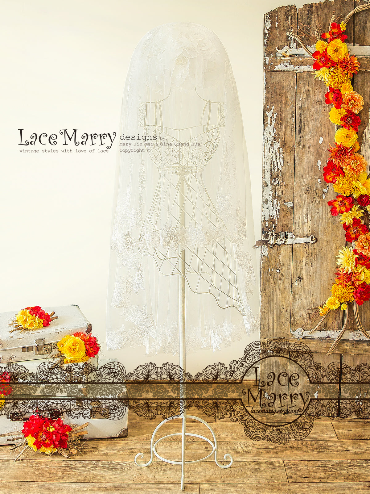 Drop Over Lace Veil with Floral Ornaments Hem