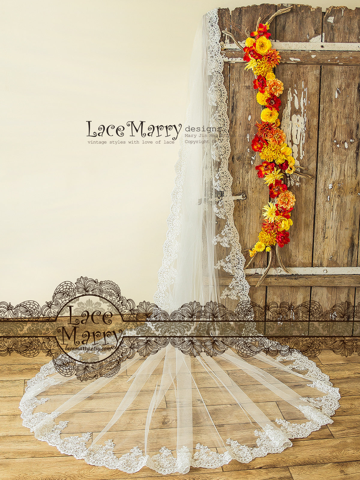Long Lace Wedding Veil with Scalloped Edge, Long Single Tier Bridal ...