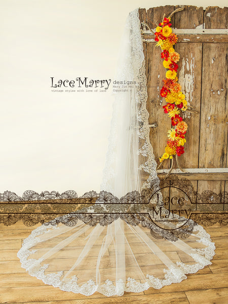 2 Tier Bridal Veil with Lace Trim