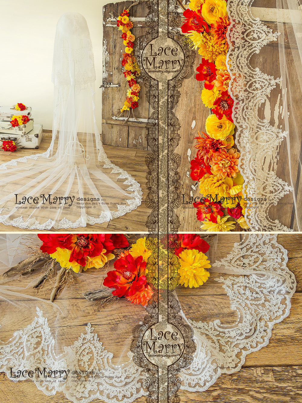 Double Layer Bridal Veil with Baroque Ornament Lace Trim