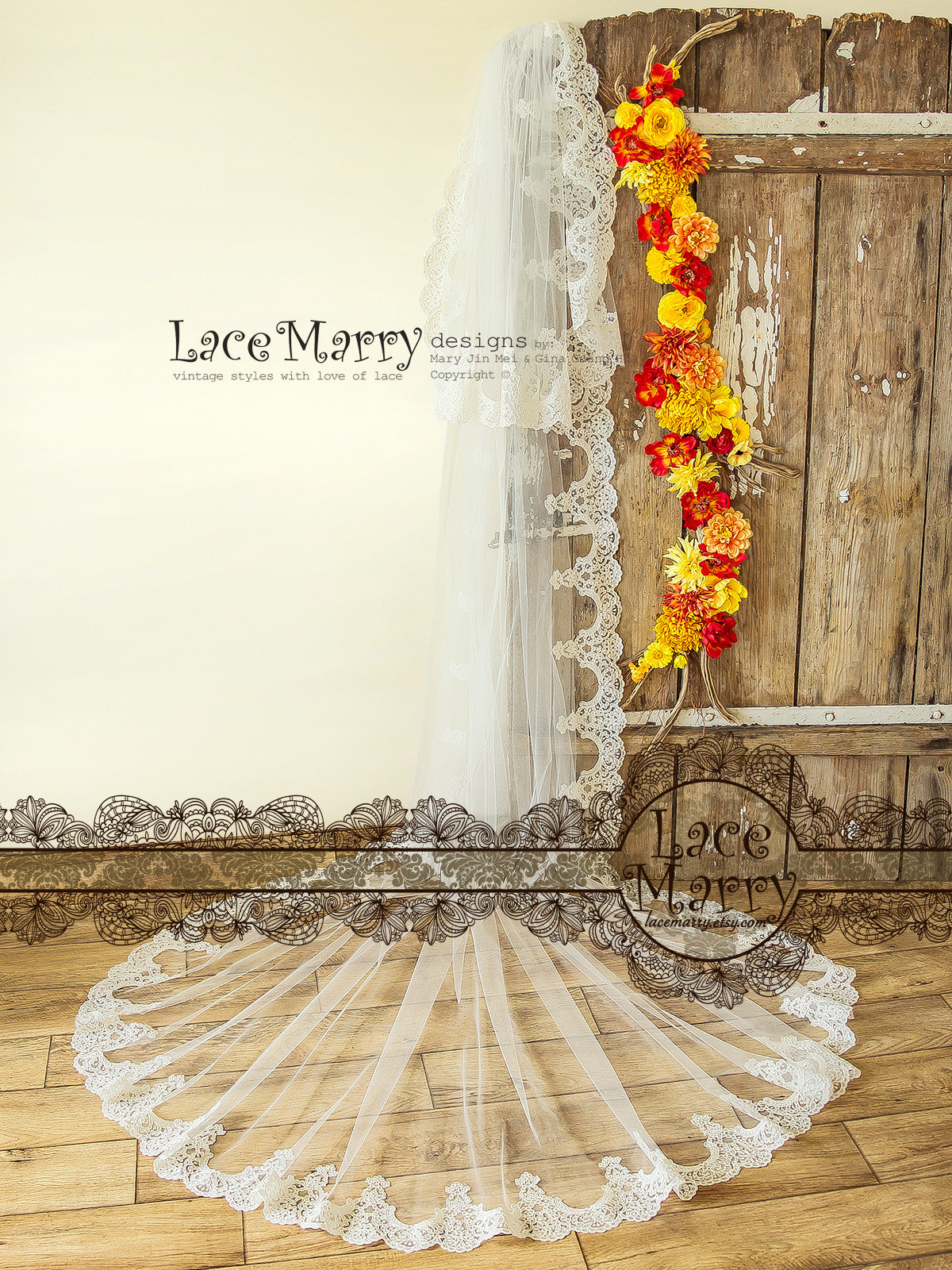 Romantic Lace Wedding Veil with Baroque Ornament Lace Trim