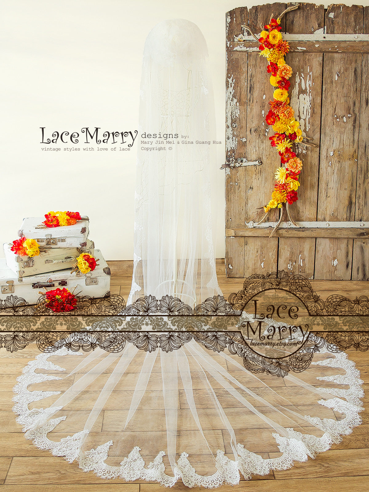 Long Alencon Lace Veil with Scalloped Hem