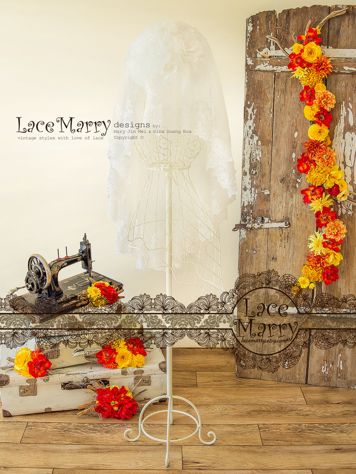 Drop Over Lace Veil with Floral Pattern
