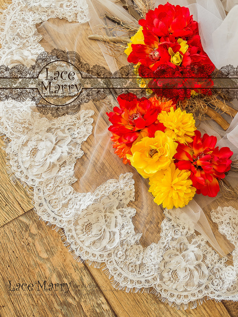 Chapel Alencon Lace Veil with Roses
