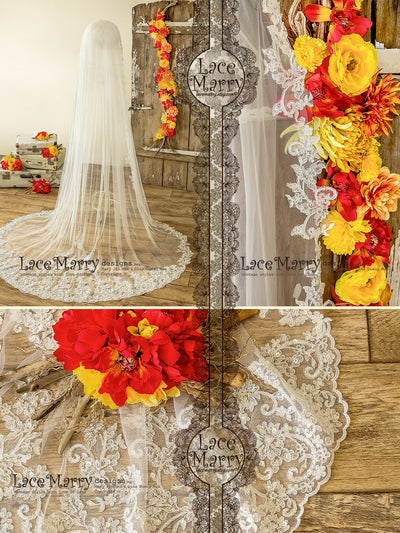 Long Single Tier Wedding Veil with Lace Trim