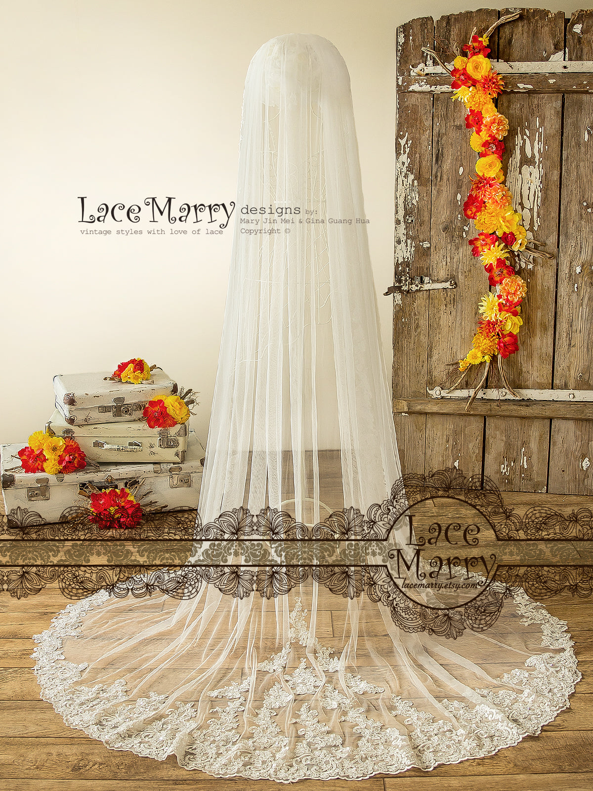 Cathedral Lace Bridal Veil with Alencon Lace Appliques