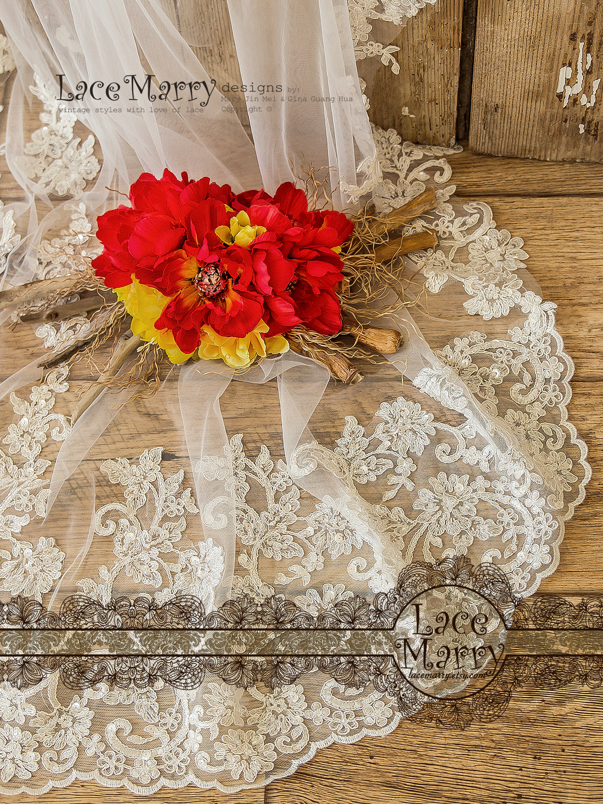 Scalloped Edge Lace Bridal Veil