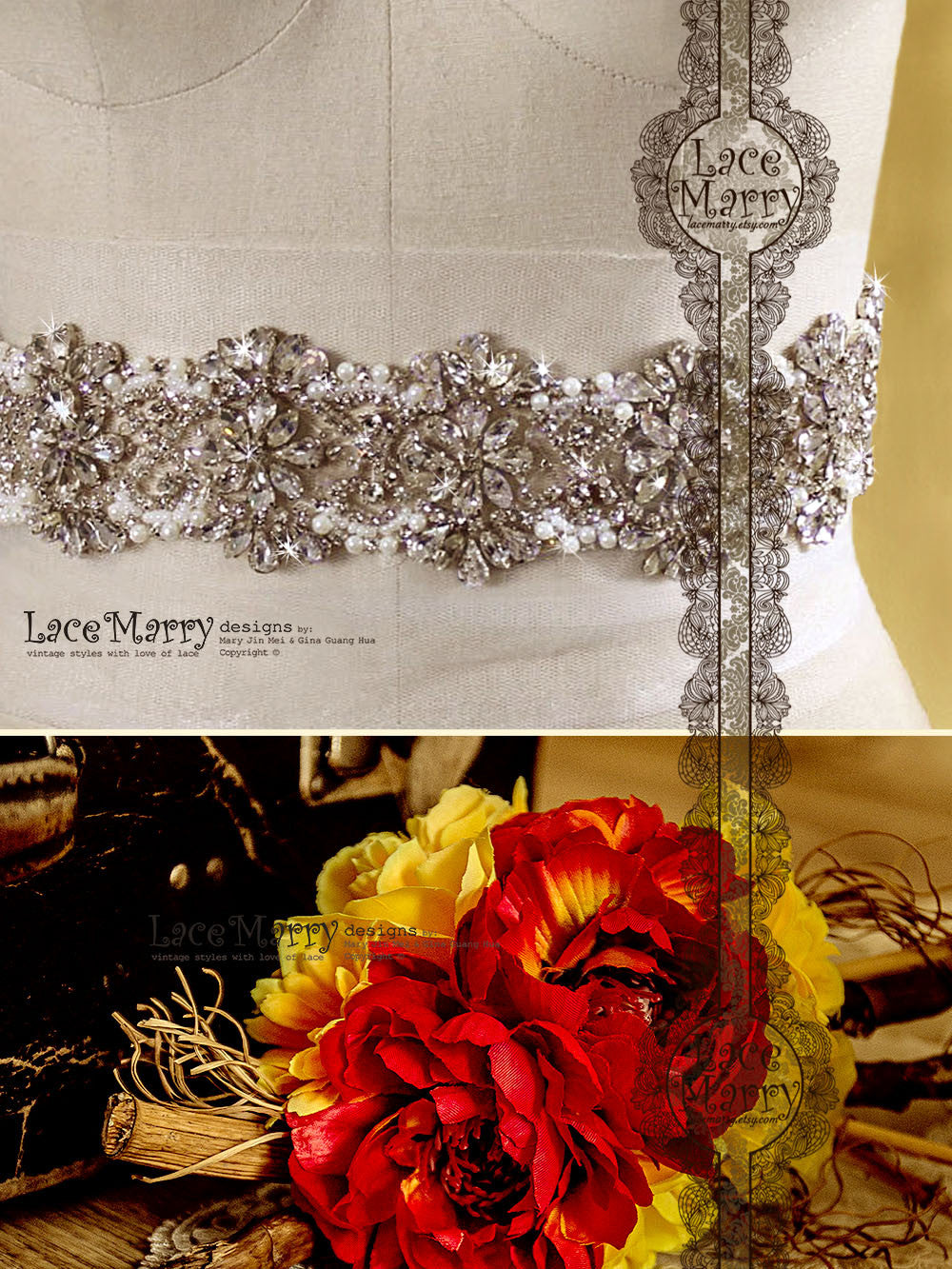 Handmade Bridal Sash with Sparkling Embellishment
