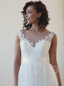 Charming Lacy Wedding Dress with Illusion Bodice