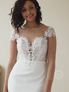 Fitted Skirt Wedding Dress with Illusion Embellishment Top
