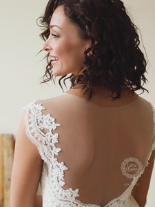 Boho Wedding Dress with Illusion Neckline and Back