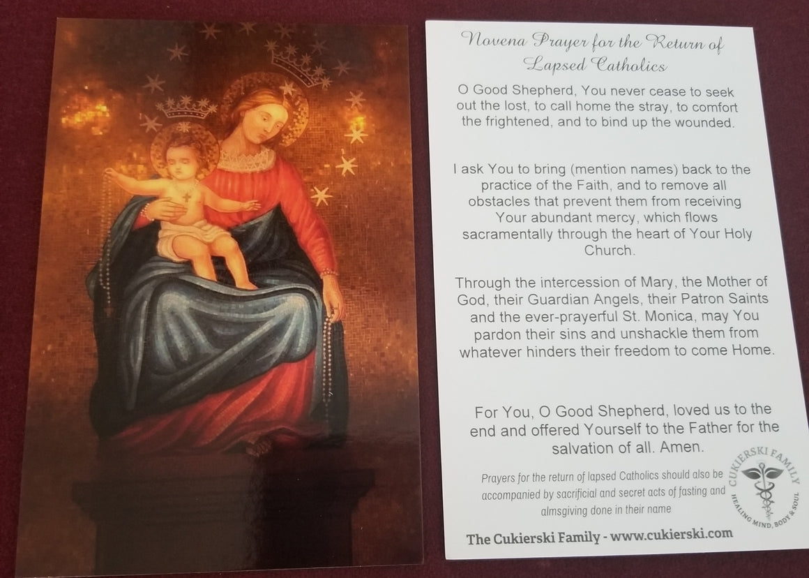 Prayer Card-Novena for the Return of Lapsed Catholics