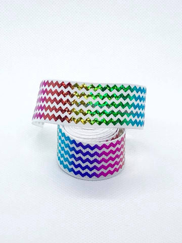"7/8"" Rainbow Foil Zigzags on White Ribbon"