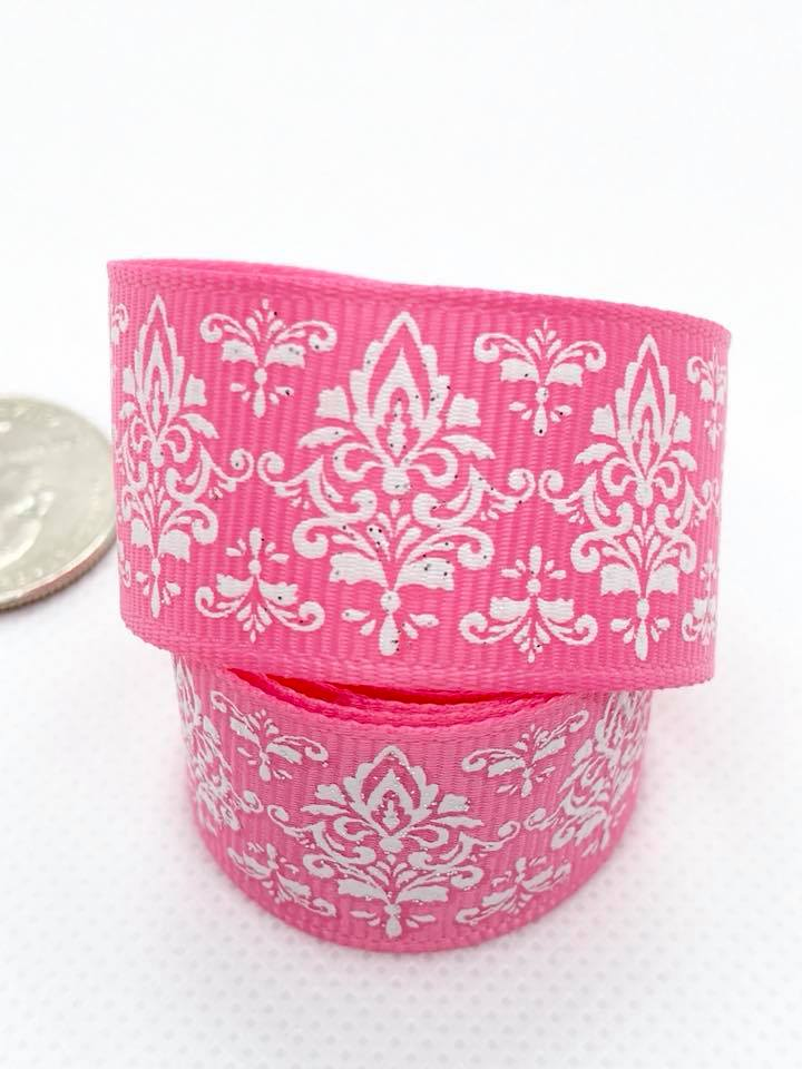 "7/8"" Pink Glitter Damask Ribbon"