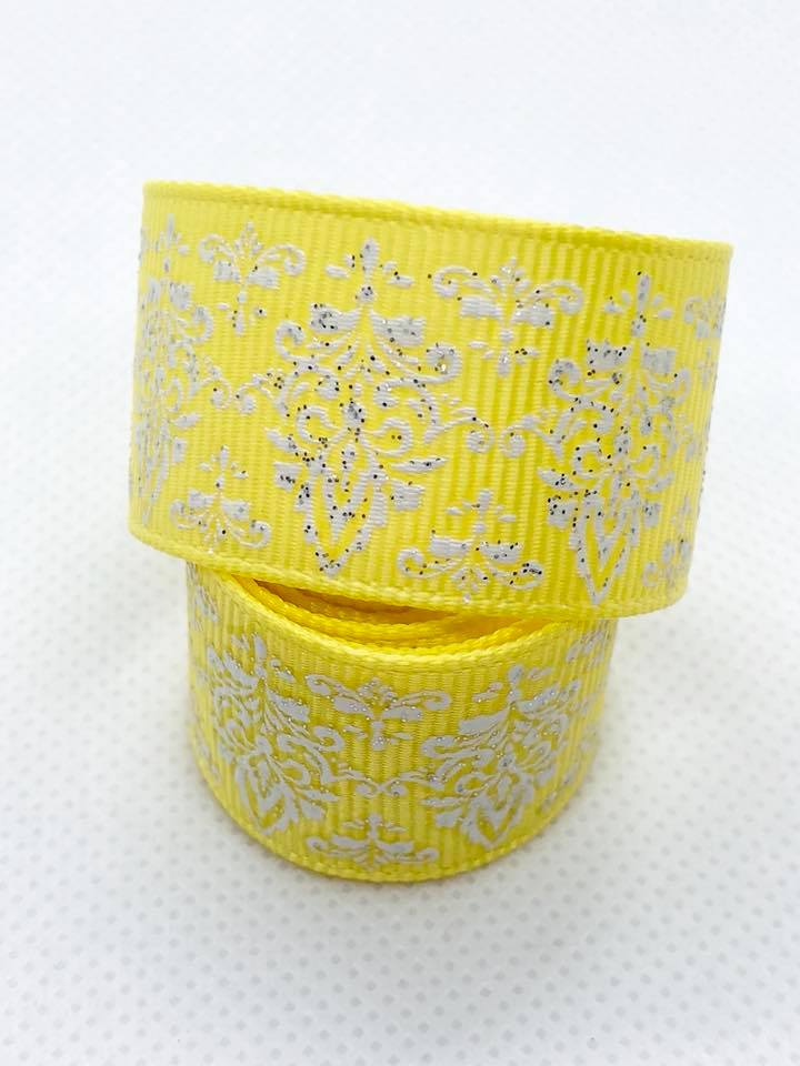 "7/8"" Yellow Glitter Damask Ribbon"