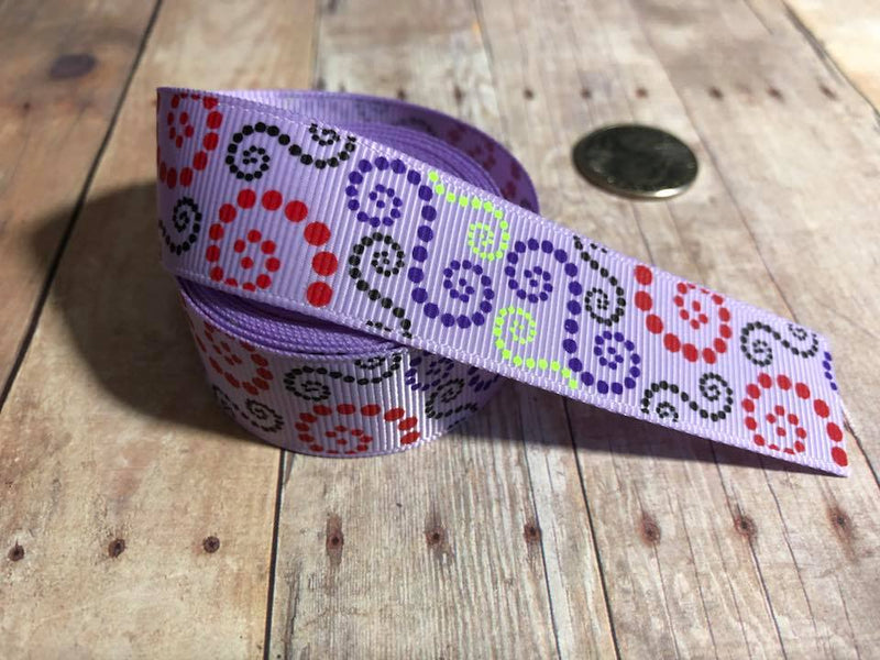 "7/8"" USDR Light Orchid Dotted Loops Ribbon"