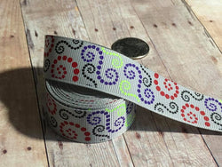 "7/8"" Light Silver Dotted Loops Ribbon"