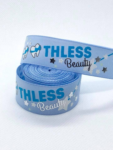 "7/8"" USDR Toothless Beauty Ribbon - Bluebell"