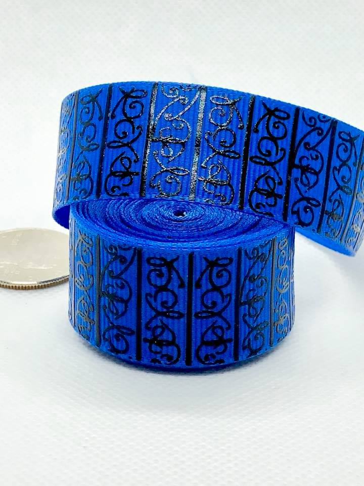 "7/8"" Black Scroll Print Ribbon - Blue"