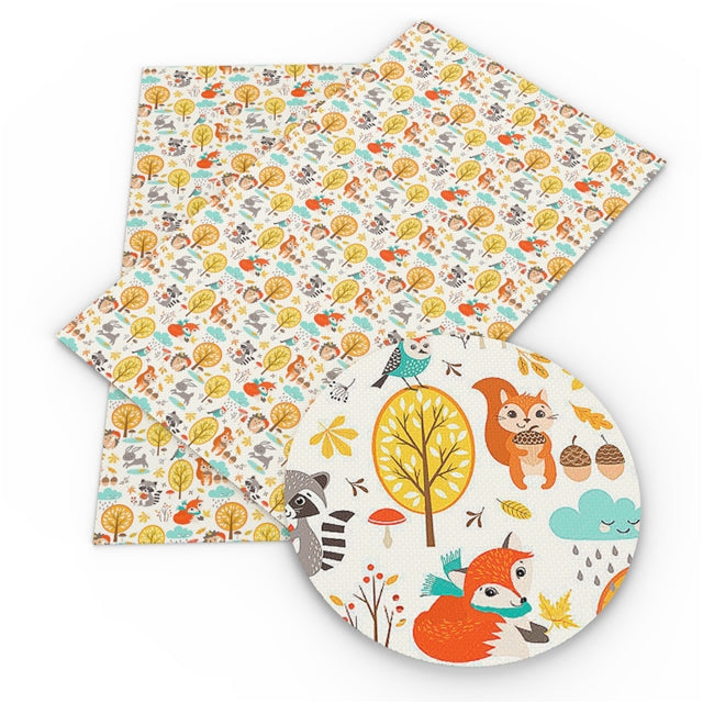 White Woodland Creatures Faux Leather Sheet