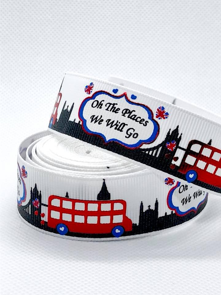 "7/8"" Oh the Places We Will Go London Ribbon"