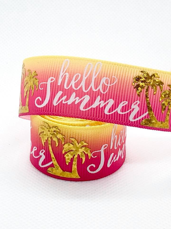 "7/8"" Hello Summer Ribbon - Yellow/Pink Ombré"