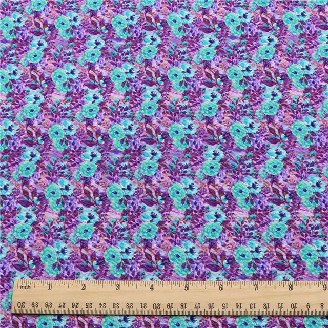 Purple and Blue Flowers Bullet Liverpool Fabric - Half Yard