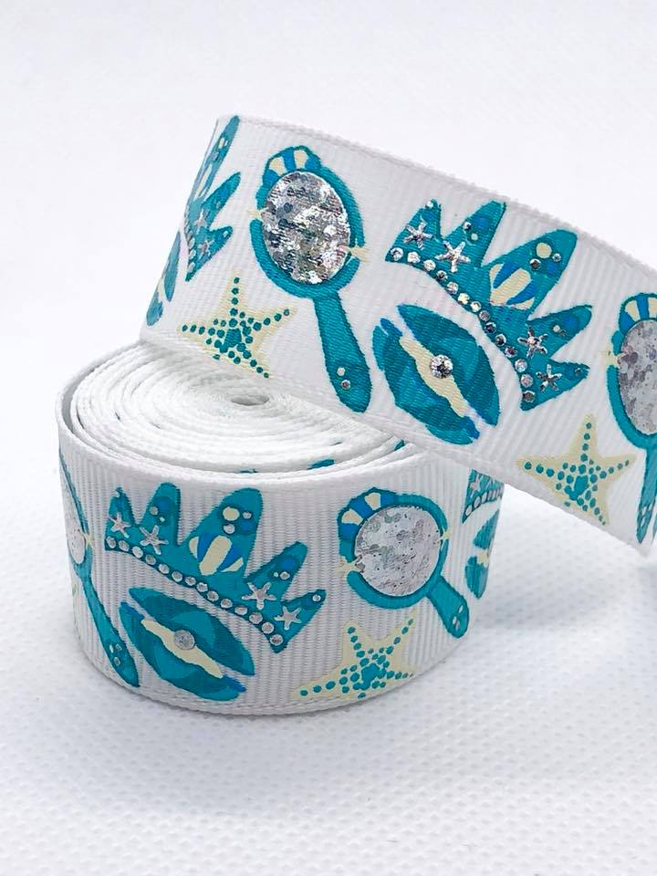 "7/8"" Mermaid Accessories Ribbon - White"