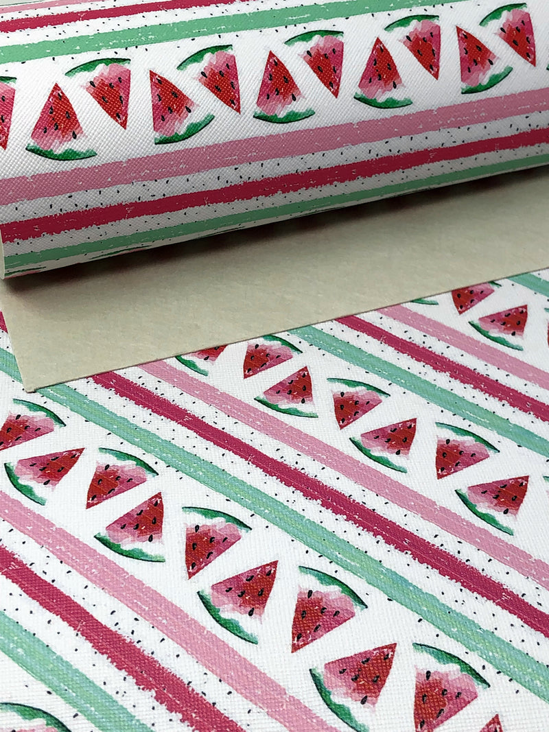 Watercolor Watermelon Faux Leather Sheet