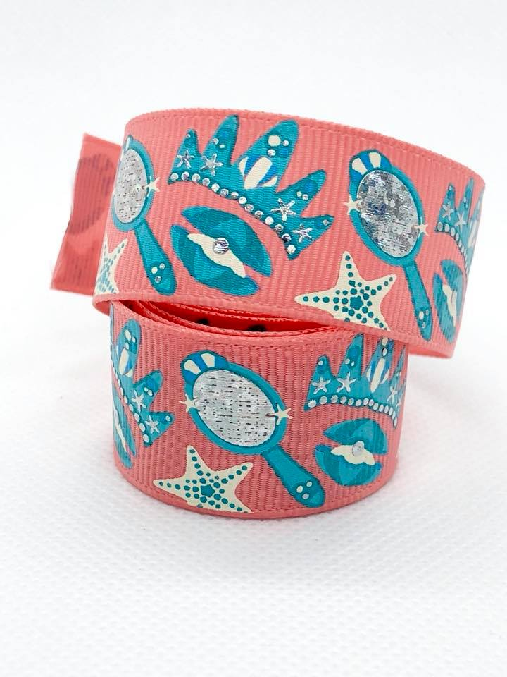 "7/8"" Mermaid Accessories Ribbon - Coral"