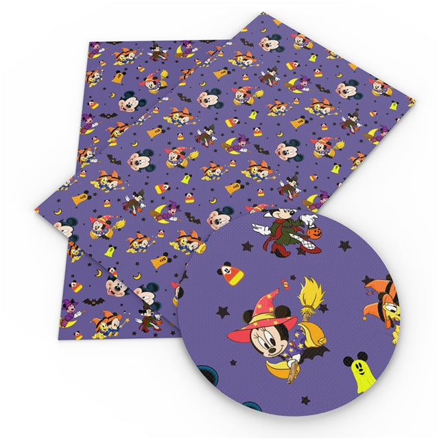 Purple Halloween Mice Faux Leather Sheet