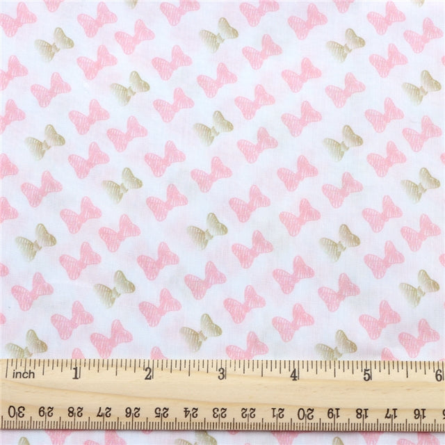 Pink Bow Poly/Cotton Blend Fabric - Half Yard