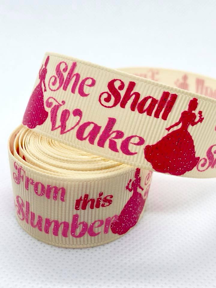 "7/8"" She Shall Wake From this Slumber Ribbon"