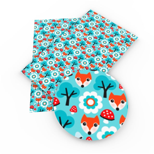 Turquoise Fox Faux Leather Sheet