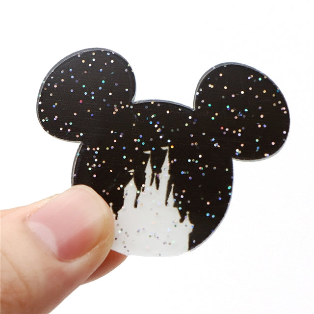 Mouse Head with Castle Glitter Planar Resin