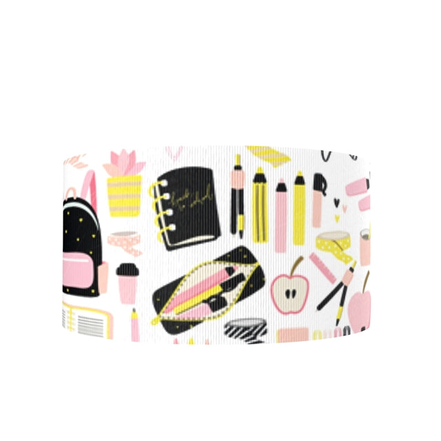 "3"" Pink and Black School Supplies Ribbon"