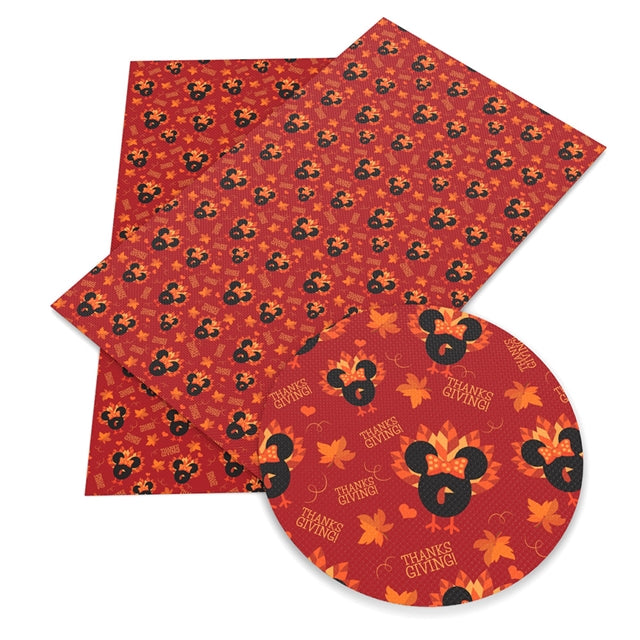 Red Turkey Mouse Faux Leather Sheet