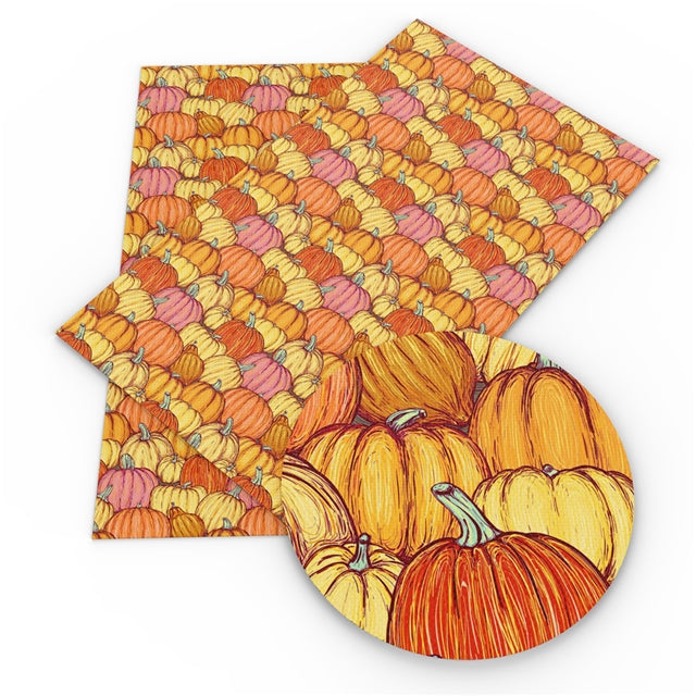 Pumpkin Sketches Faux Leather Sheet