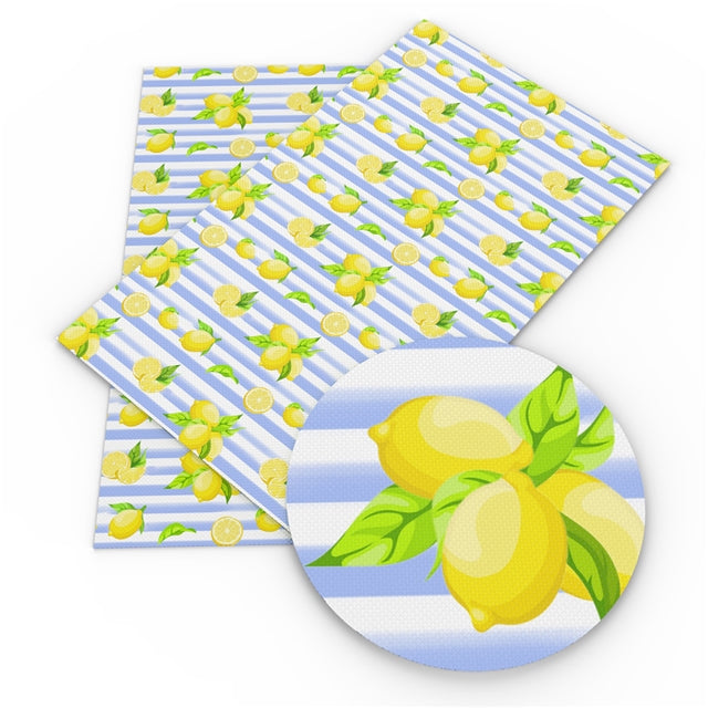 Lemons and Stripes Faux Leather Sheet